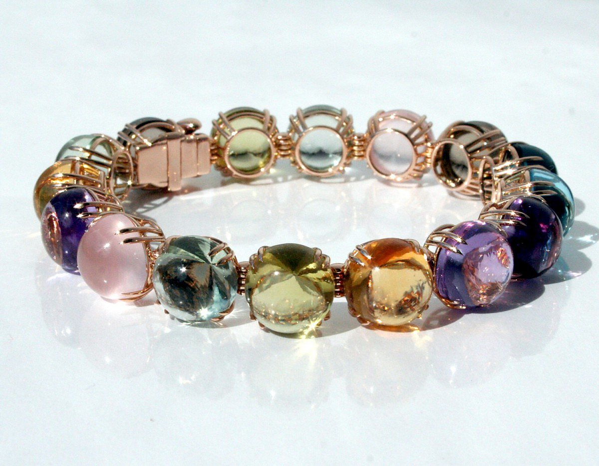 Bracelet, Rosegold with colored stones by Adolfo Courrier