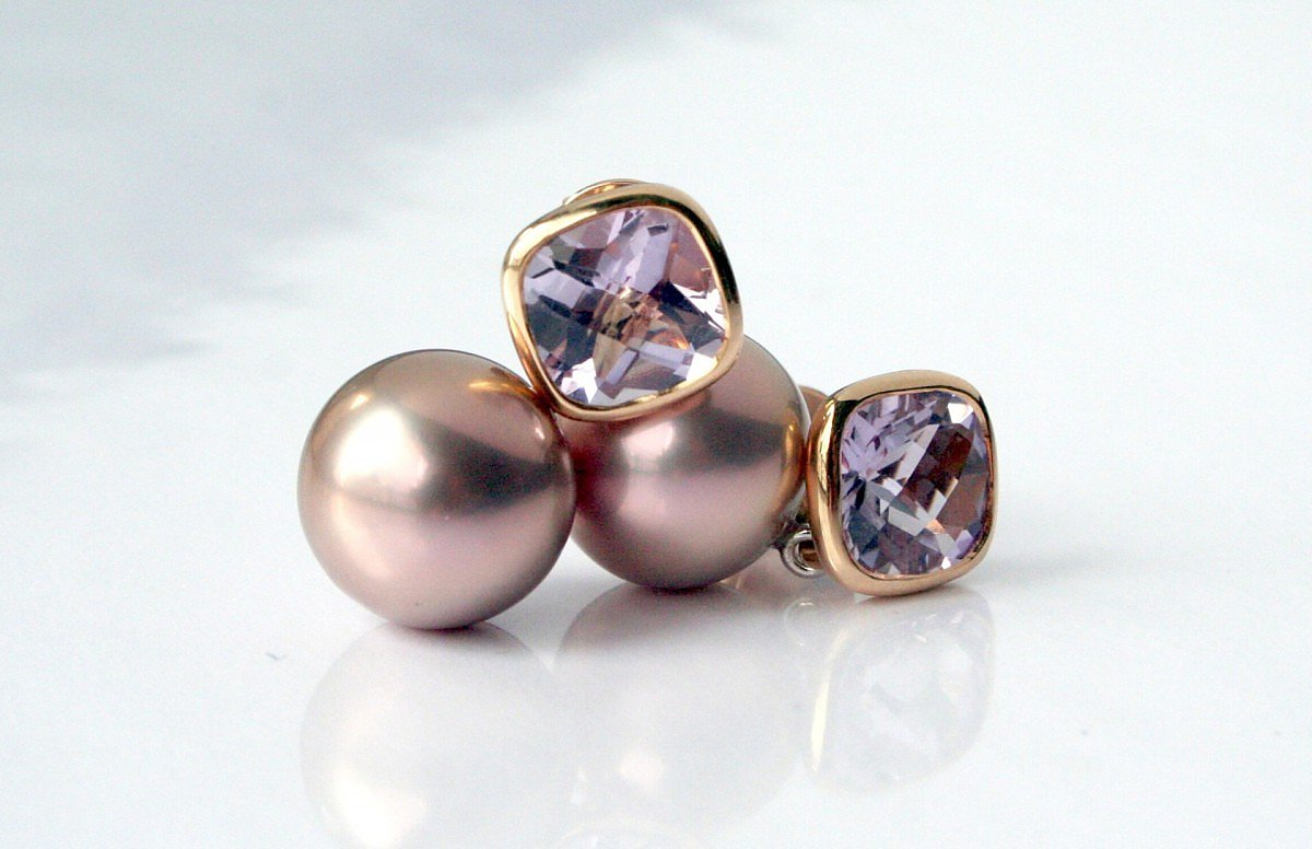 Earrings, Rosegold with natural pink Pearls with Amethyst