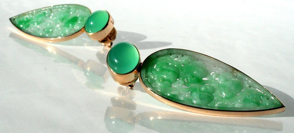 earrings, Rosegold, Jade and Chrysoprase