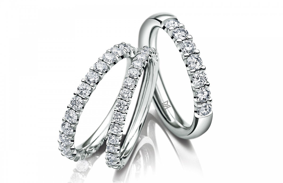 Platinum Memory Rings with diamonds by Meister