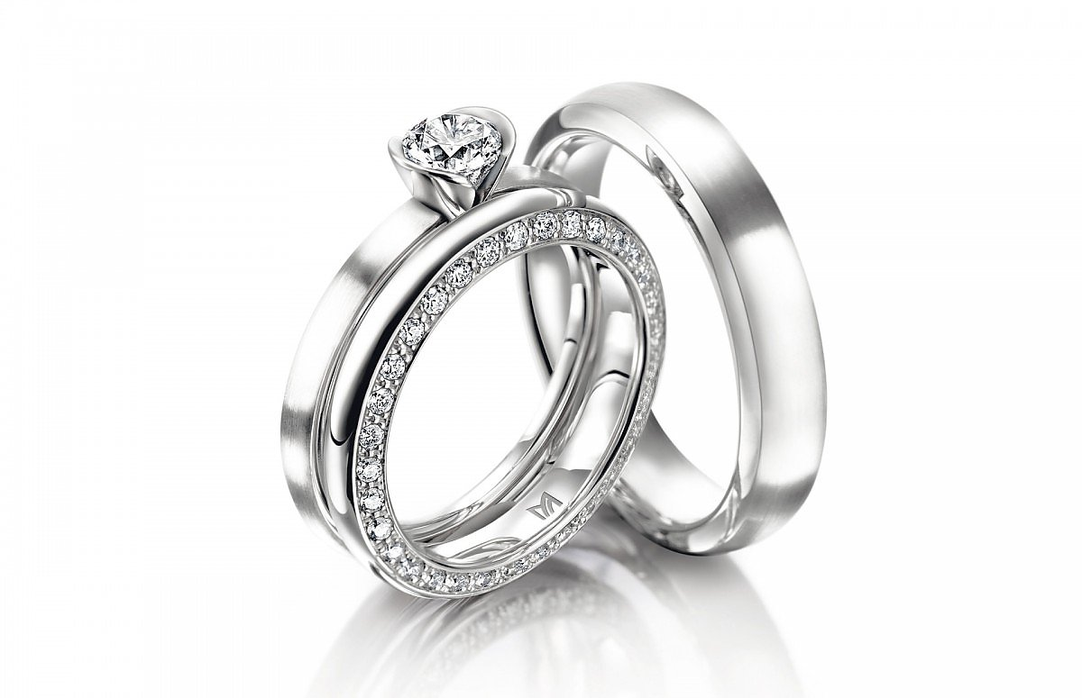 Wedding bands with Engangement Ring, Platinum by Meister